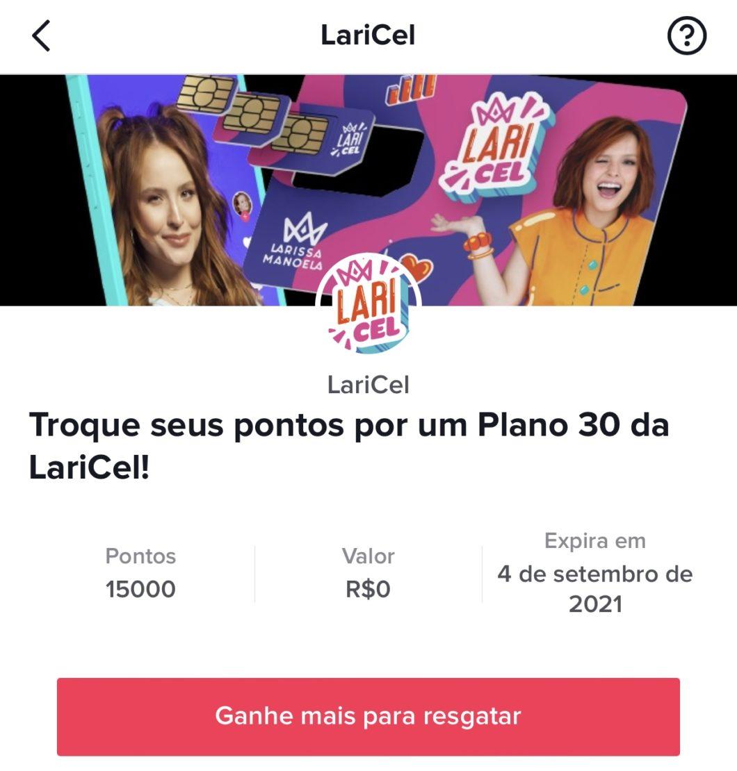 TikTok permite trocar pontos por plano da Laricel (Imagem: Reprodução)