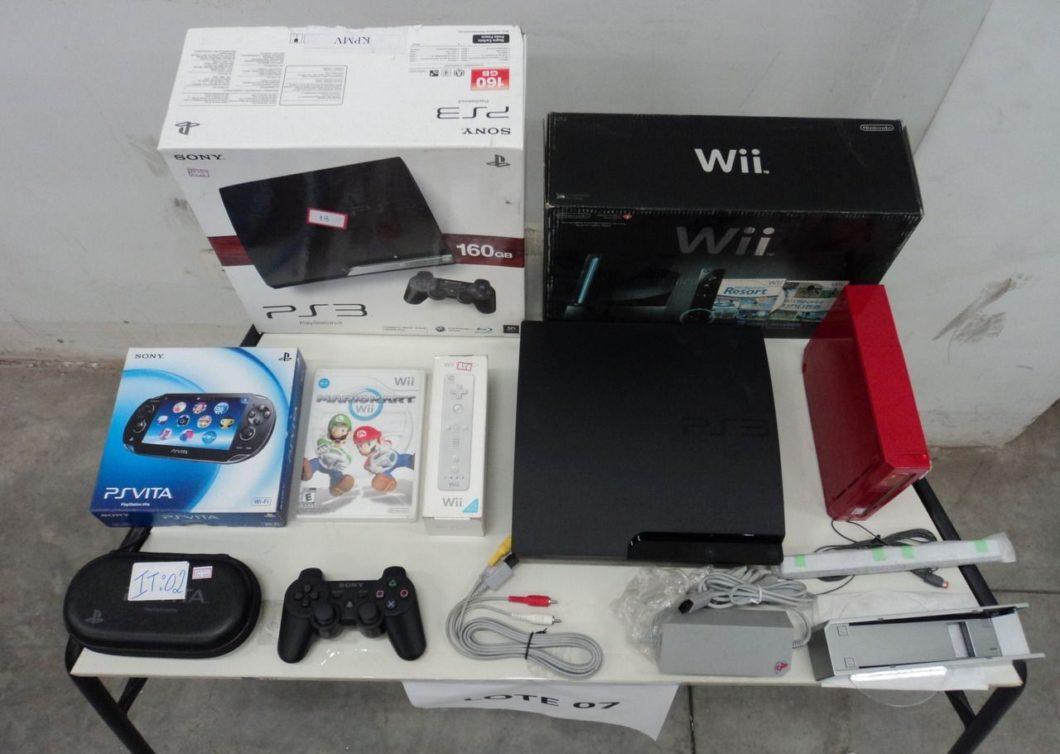 Lote 7 do leilão em SP tem Nintendo Wii, PS3 e PS Vita (Imagem: Reprodução / RFB)