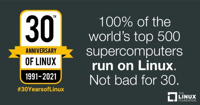 100% dos 500 maiores supercomputadores do mundo rodam Linux. Nada mau para 30 anos. (imagem: divulgação/Linux Foundation)