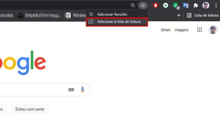 Processo para adicionar sites na lista de leitura do Chrome (Imagem: Reprodução/Google Chrome)