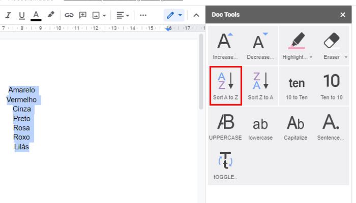 Processo para colocar uma lista em ordem alfabética no Google Docs (Imagem: Reprodução/Google Docs)