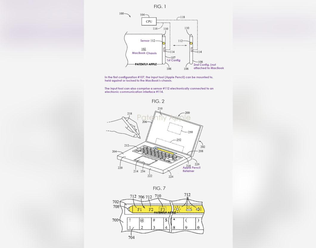 Conceito de MacBook com espaço para guardar Apple Pencil (Imagem: Reprodução/Patently Apple)