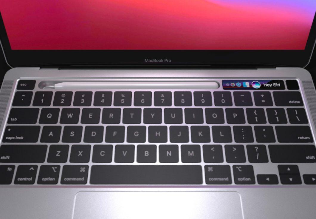 Conceito de MacBook com espaço para guardar Apple Pencil (Imagem: Reprodução/Sarang Sheth)