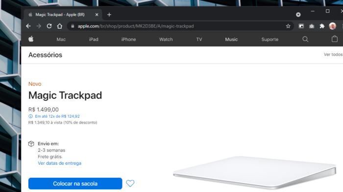 Site da Apple com venda do novo Magic Trackpad