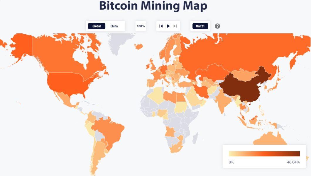 Mapa de mineração de bitcoin referente a abril de 2021 (Imagem: Reprodução/ CBECI)
