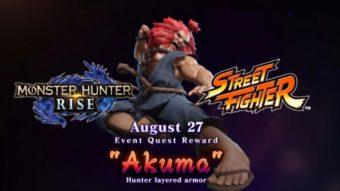 Akuma de Street Fighter será lançado em Monster Hunter Rise