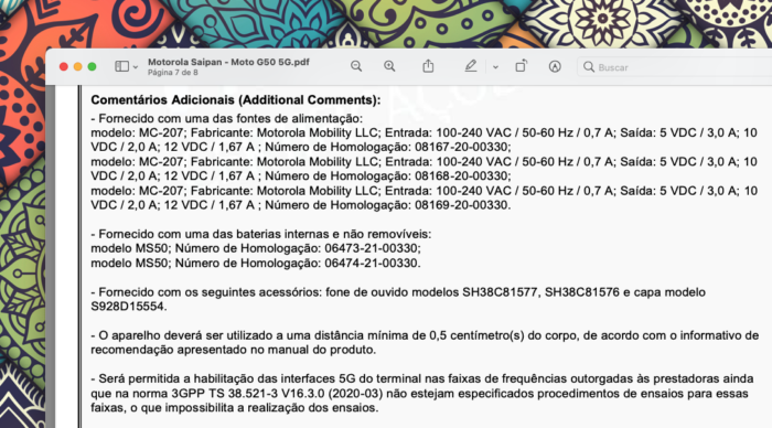 """Motorola """"Saipan"""" (possível Moto G50 5G) foi homologado com suporte ao 5G (Imagem: Reprodução/Tecnoblog)"""