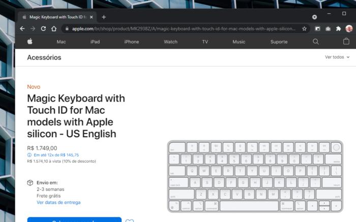 Site da Apple para venda do novo teclado Magic Keyboard