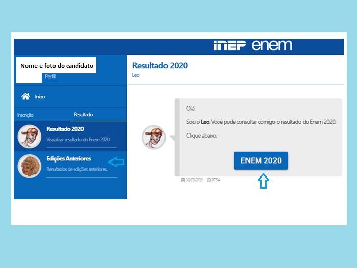 Página do participante (Imagem: Reprodução/Enem)