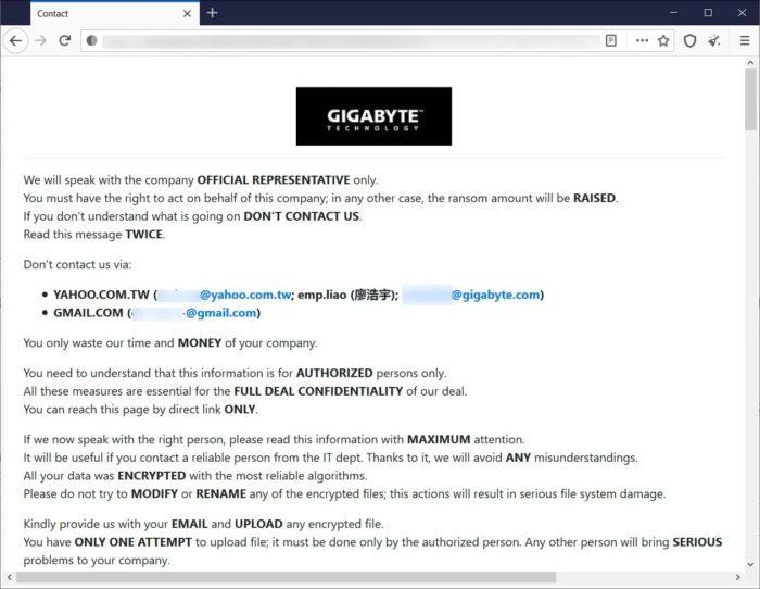Página com instruções para negociação com os invasores (imagem: BleepingComputer)