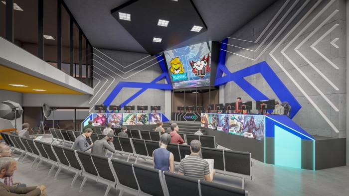 Simulação do palco de esports do HubCG (Imagem: Divulgação/HubCG)