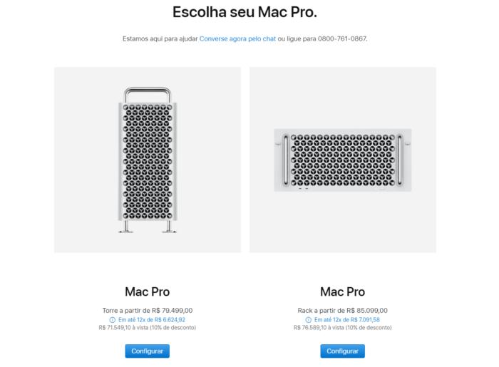 Preço do Mac Pro da loja da Apple (Imagem: Reprodução)
