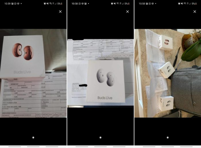 Photos of headphones delivered to those who paid R$ 119.10 collected by customer Denis, who also had his order canceled