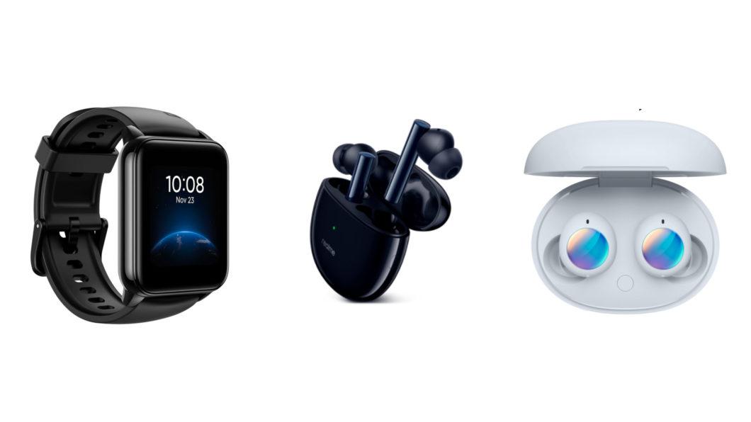Realme Watch 2, Buds Air 2 e Buds Air 2 Neo (Imagem: Divulgação/Realme)