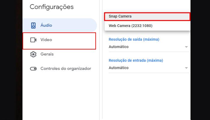 Processo para usar filtros do Snap Camera no Google Meet (Imagem: Reprodução/Google Meet)