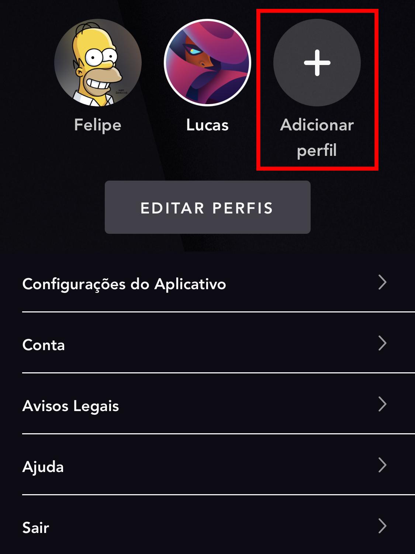 Opção para criar perfil no app do Star+ (Imagem: Reprodução/Star+)