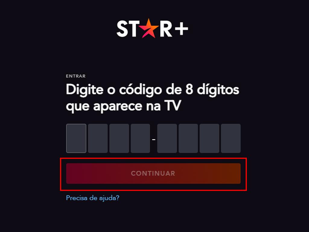 Área para inserir o código mostrado na TV (Imagem: Reprodução/Star Plus)
