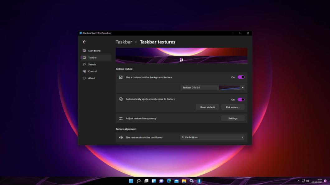 Start11 tem opções para customizar barra de tarefas (Imagem: Divulgação/Stardock)