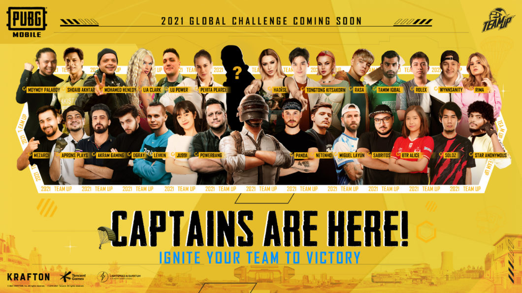 Celebridades do Team Up Challenge 2021 de PUBG Mobile (Imagem: Divulgação/PUBG Mobile)