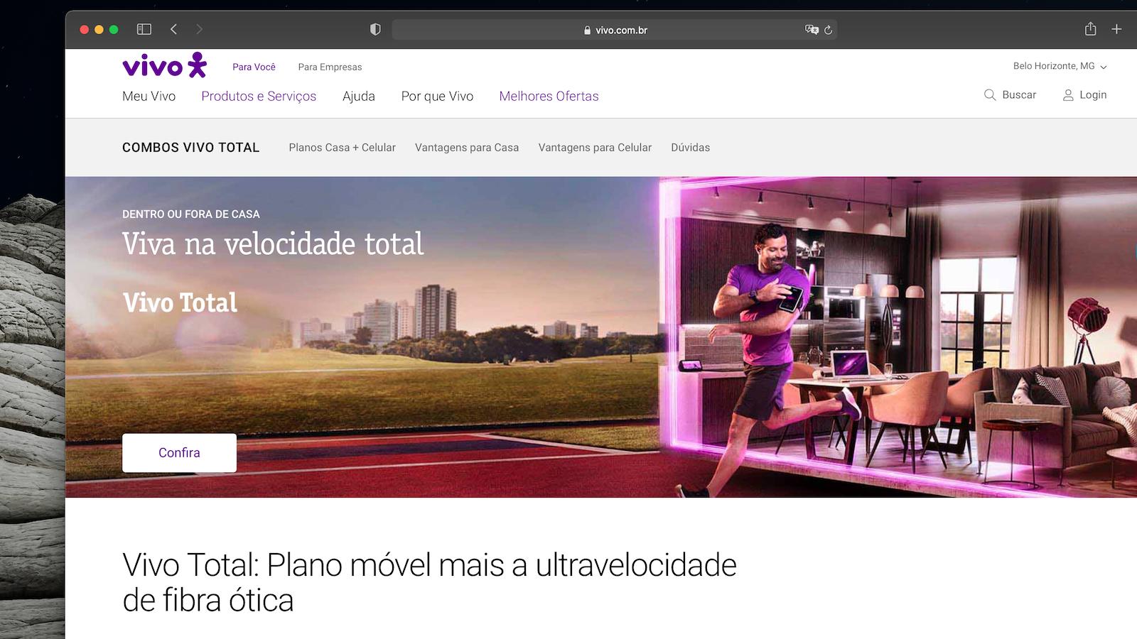 Vivo Total: combo com banda larga Vivo Fibra, telefone fixo e plano de celular (Imagem: Reprodução)