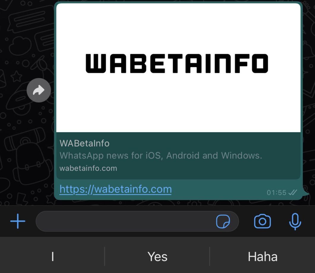 WhatsApp Beta recebe prévia de links maiores (Imagem: Reprodução/WABetaInfo)