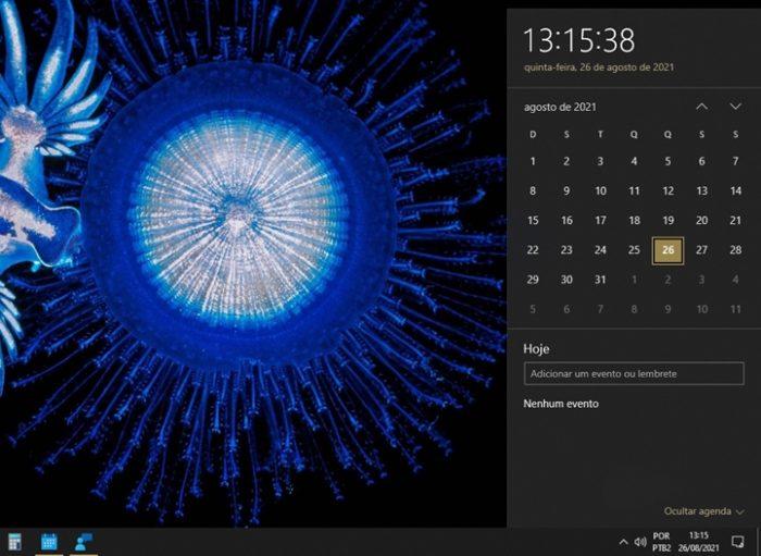 Calendário com horas (e segundos) no Windows 10 (imagem: Emerson Alecrim/Tecnoblog)