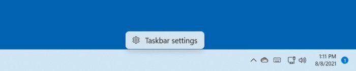 Context menu when right-clicking on Windows 11 taskbar (Image: Playback/BleepingComputer)