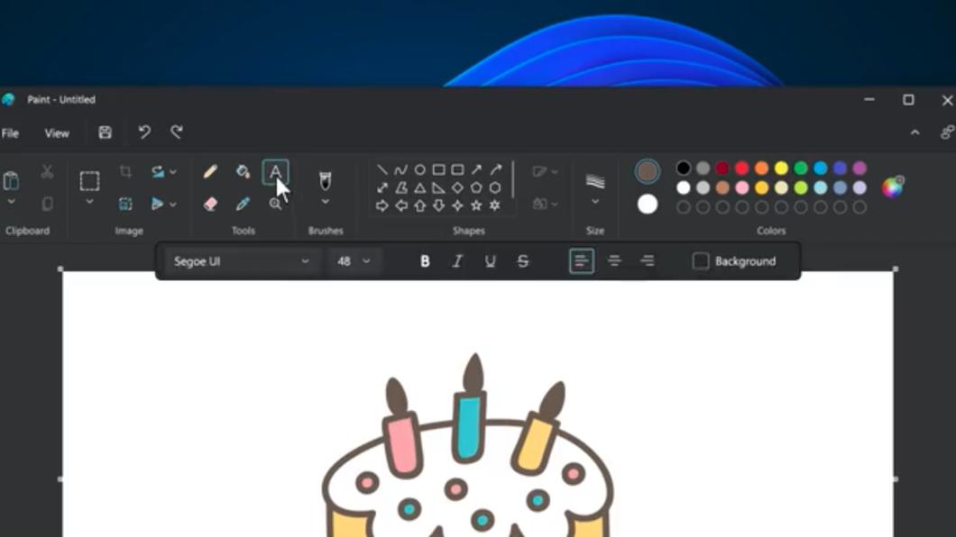 Editor de texto do Paint para Windows 11 (Imagem: Reprodução/Panos Panay/Twitter)