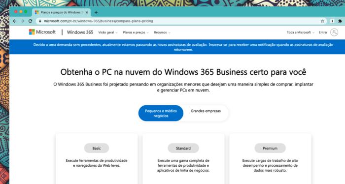 Microsoft avisa sobre suspensão de testes do Windows 365 (Imagem: Reprodução/Tecnoblog)