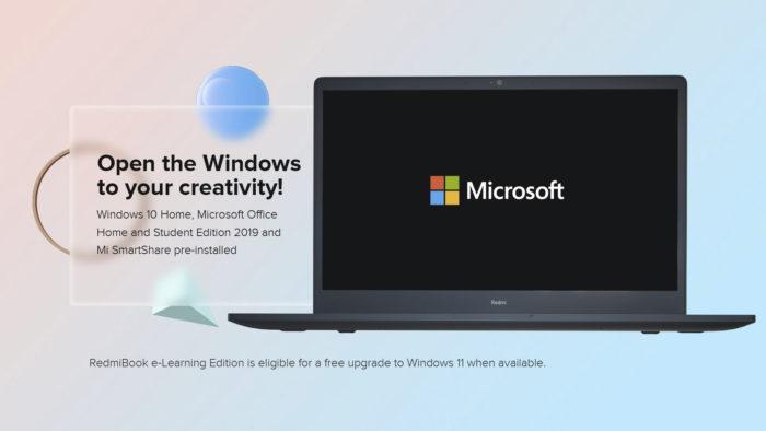 Xiaomi RedmiBook e-Learning Edition vem com Windows 10 e Office de fábrica (Imagem: Divulgação/Xiaomi)