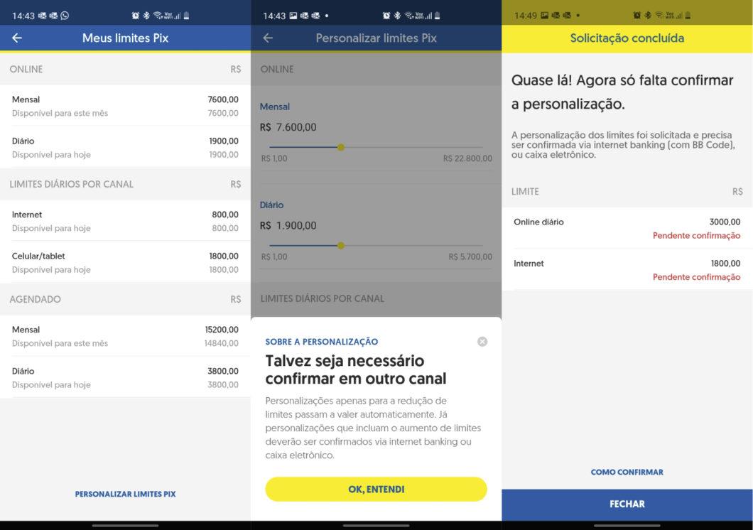 Alteração do limite no app do Banco do Brasil (Imagem: Reprodução/Tecnoblog)