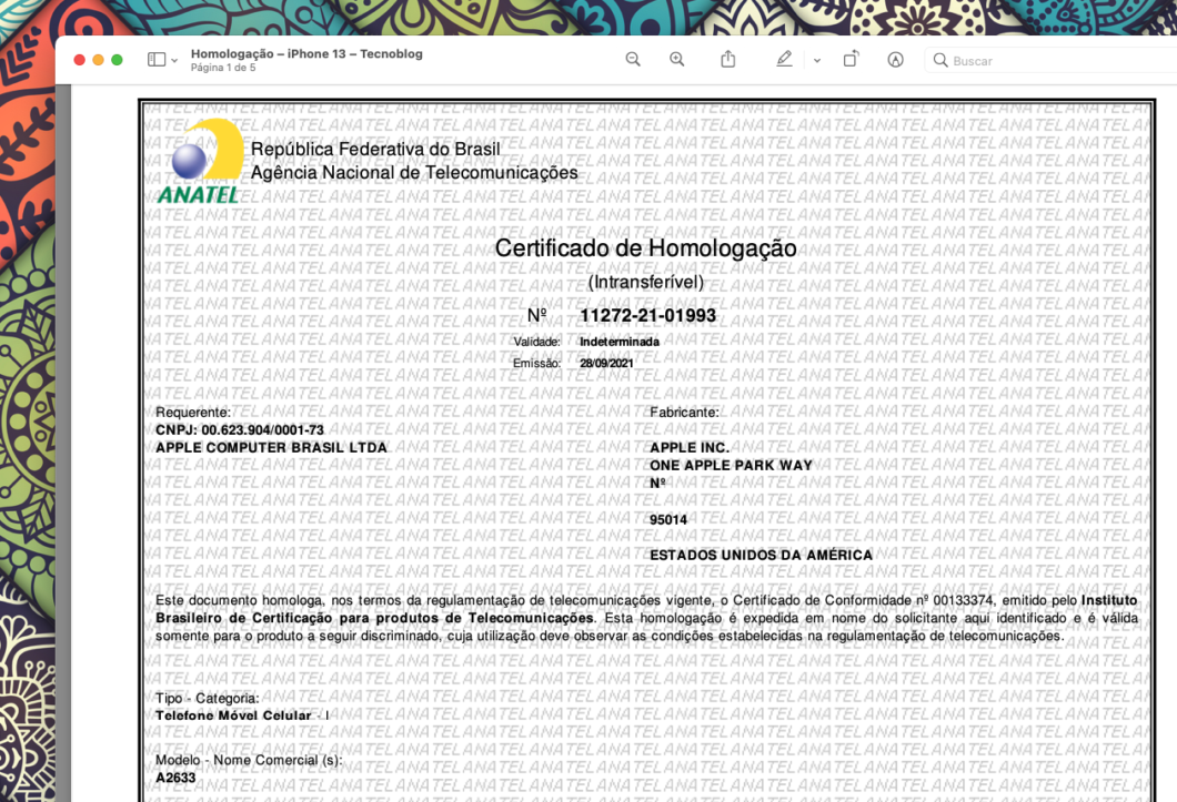 Certificado de homologação do iPhone 13 (Imagem: Reprodução/Tecnoblog)