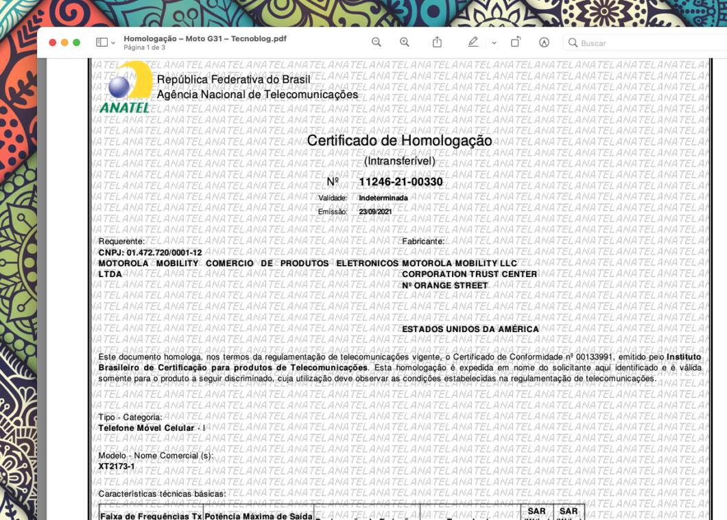 Certificado de homologação do Moto G31 (Imagem: Reprodução/Tecnoblog)