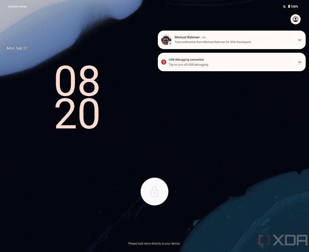 Possível tela de bloqueio do <a href='https://meuspy.com/tag/Espiao-para-Android-gratis'>Android</a> 12.1 (Imagem: Reprodução/XDA-Developers)