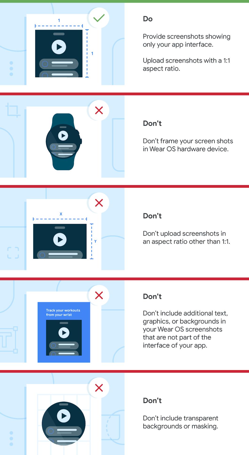 Diretrizes para capturas de tela de apps do Wear OS