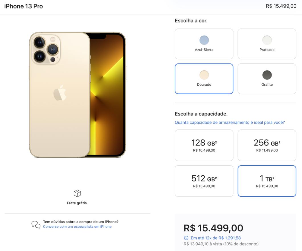 iPhone 13 Pro Max pode passar dos R$ 15 mil (Imagem: Reprodução / Tecnoblog)