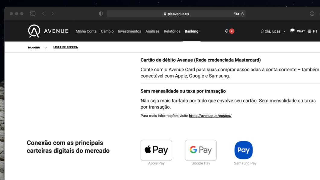 Avenue terá cartão de débito compatível com Apple Pay, <a href='https://meuspy.com/tag/Samsung-espiao'>Samsung</a> Pay e Google Pay (Imagem: Reprodução)