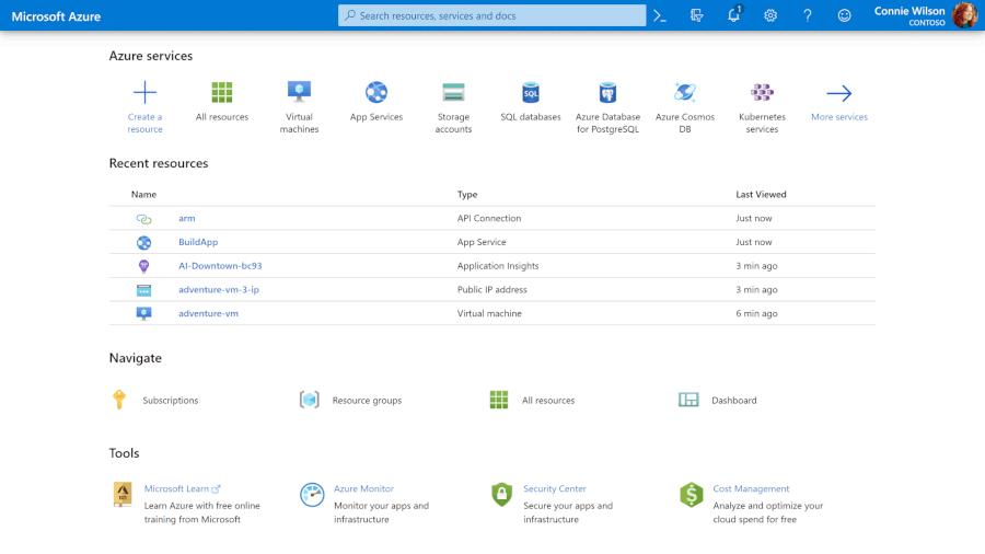 Painel de ferramentas do Microsoft Azure (Imagem: Divulgação/Microsoft)