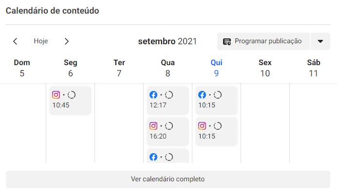 O Business Suite tem um calendário com a visualização completa de todas as publicações publicadas e agendadas. (Imagem: Reprodução / Facebook Business Suite)