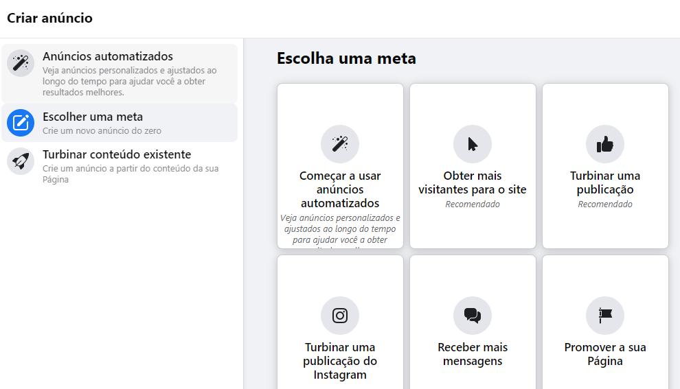 A interface permite a criação de anúncios em um clique, de acordo com os objetivos e necessidades. (Imagem: Reprodução / Facebook Business Suite)