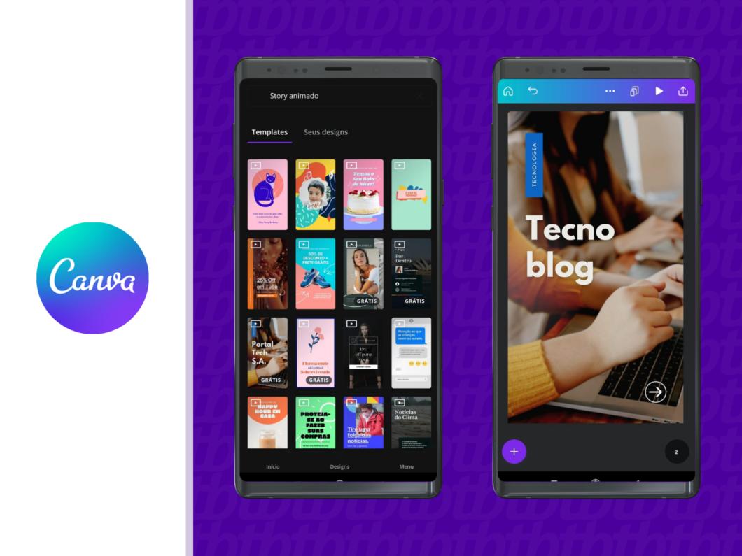 O Canva permite a criação de designs tanto no app quanto no desktop (Imagem: Reprodução / Amanda Machado)