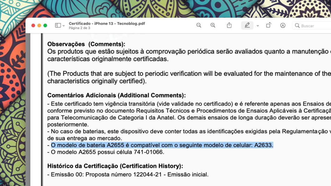 Certificado informa que bateria é compatível com iPhone 13 (Imagem: Reprodução/Tecnoblog)