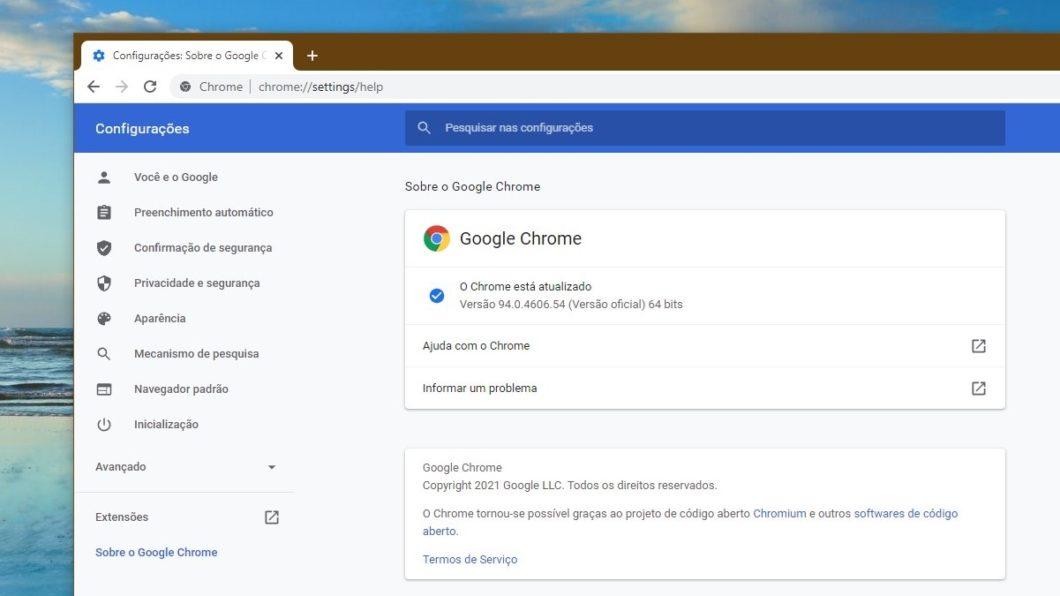 Chrome 94 no Windows 10
