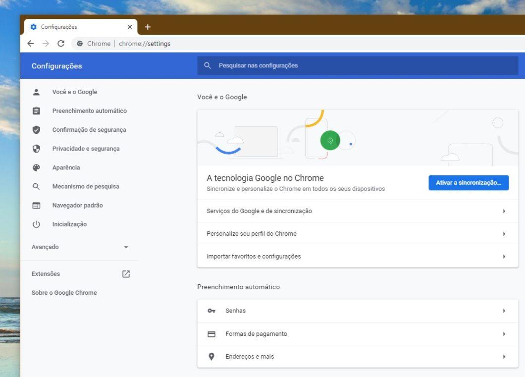 Página de configurações do Chrome 94