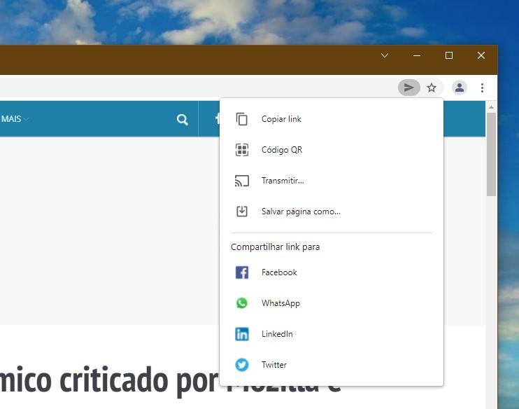 Chrome Sharing Hub no Chrome 94