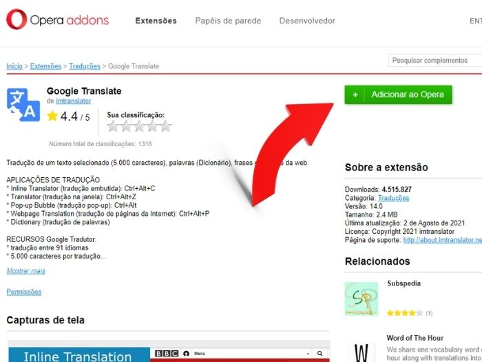 Como traduzir uma página no Opera 4 (Imagem: Leandro Kovacs/Reprodução)