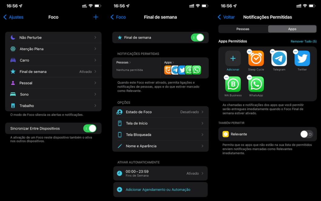 Configuração dos modos de foco no iOS 15 (Imagem: Lucas Braga / Tecnoblog)