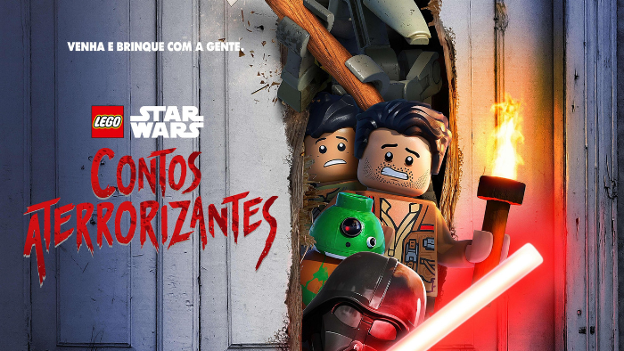 texto escrito lego star wars contos aterrorizantes com a imagens dos personagens oficiais do especial