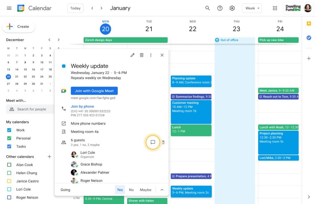 Opção do Google Agenda para enviar mensagens a participantes de um evento (Imagem: Reprodução/Google)