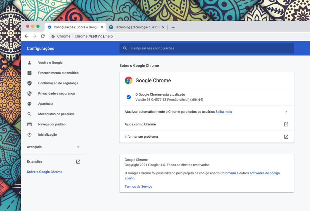 Google Chrome 93 no macOS (Imagem: Reprodução/Tecnoblog)